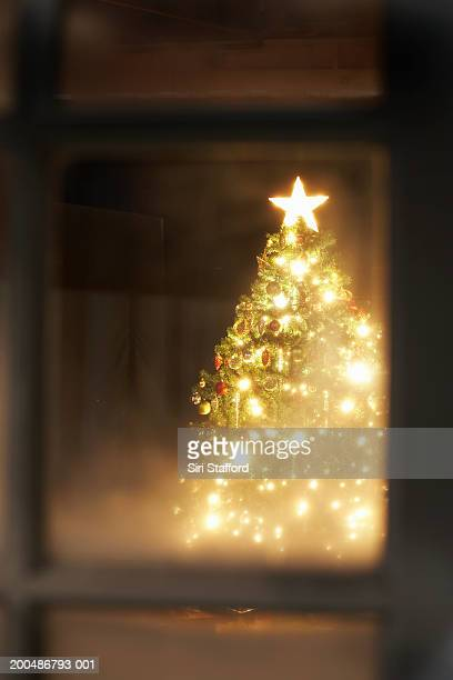 Lit Christmas tree through frosted window