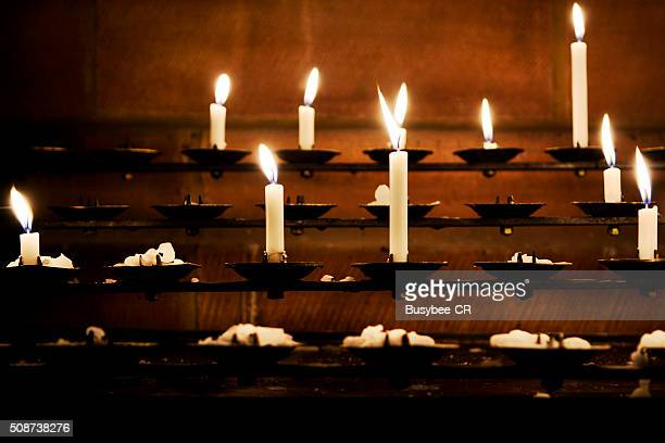 Lit Church Candles
