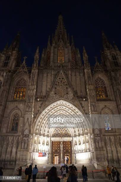 Lit Facade of the Cathedral of Barcelona, Night, Barcelona, Spain