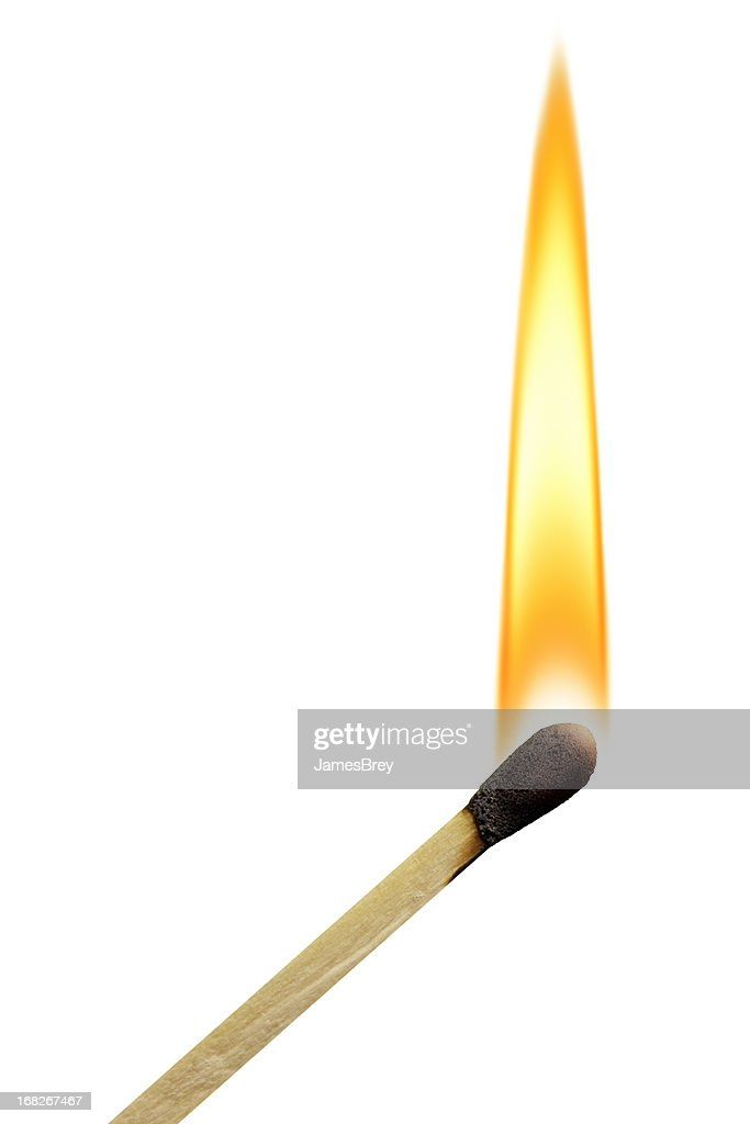 Lit Match With Flame on White Background : Stock Photo