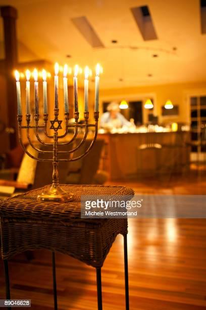 Lit Menorah in Home