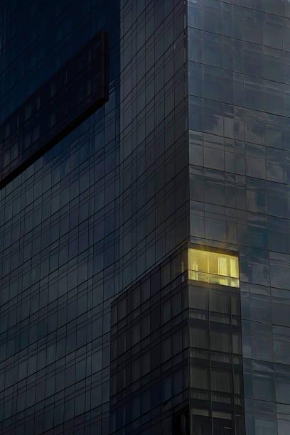 Lit office in a dark building