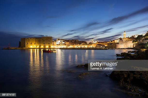 Lit Old Town in Dubrovnik at dusk