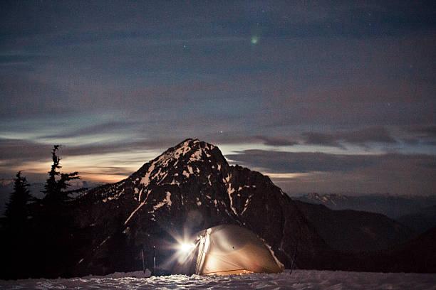 Lit tent at night