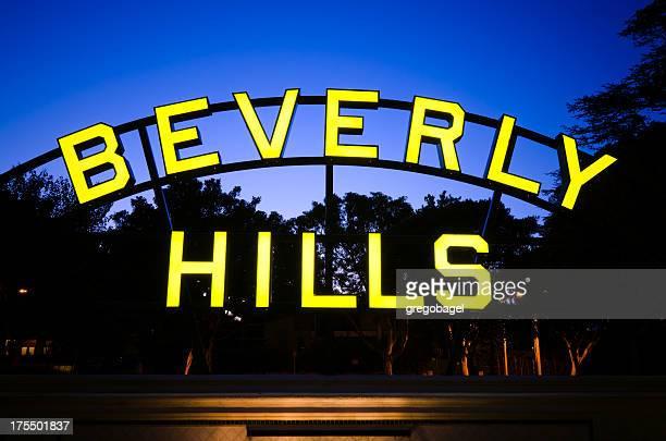 beverly hills placa à noite na califórnia - beverly hills - fotografias e filmes do acervo