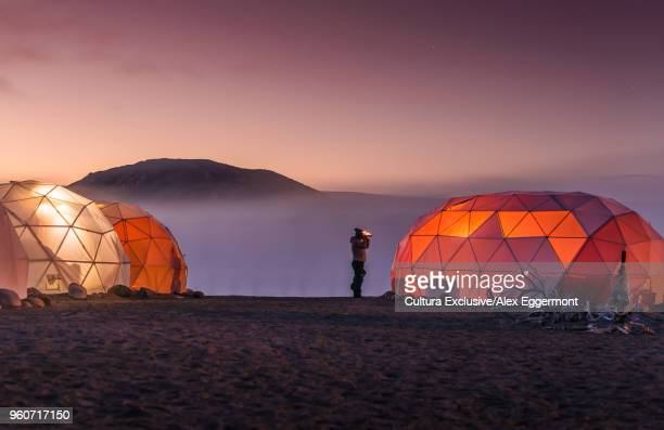 lit up dome tents, narsaq, vestgronland, greenland - dome stock pictures, royalty-free photos & images