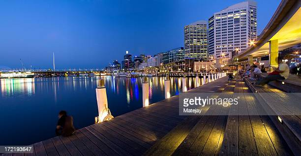 Lit up Sydney Darling Harbor at night