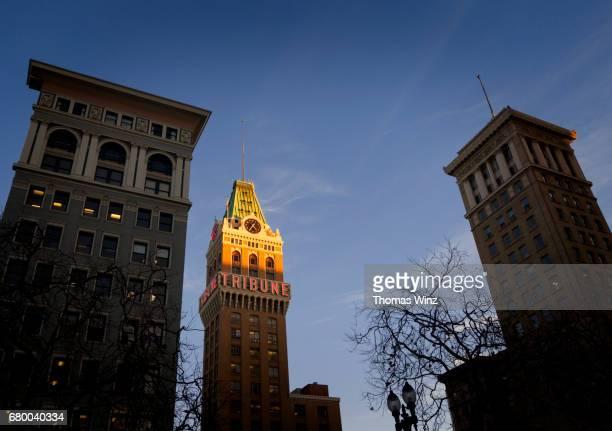 Lit up Tribune Building , Oakland