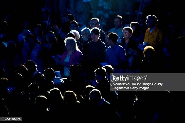 Lit with stage lights parashioners of Kindred Community Church in Anaheim Hills arrive in the dark for Easter Sunday sunrise services ///ADDITIONAL...