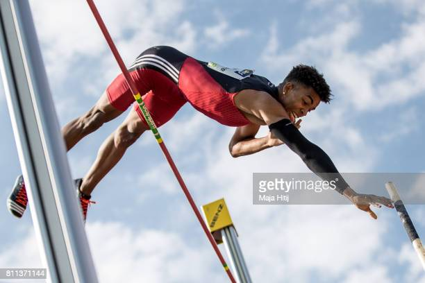 Lita Baehre Bo Kanda competes during men's Pole Vault during day 2 of the German Championships in Athletics at Steigerwaldstadion on July 9, 2017 in...
