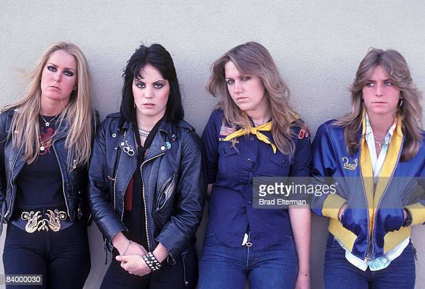 Lita Ford Joan Jett of The Runaways Sandy West and Vicky Blue at a photo session in Los Angeles California **EXCLUSIVE**