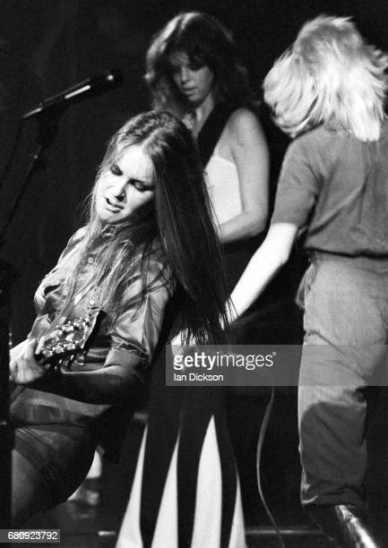 Lita Ford Micki Steele and Cherie Currie of The Runaways performing on stage at The Roundhouse London 01 October 1976