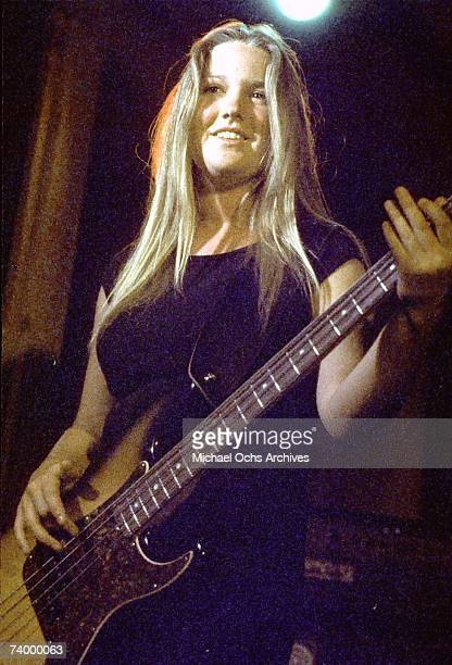 Lita Ford of the rock band 'The Runaways' performs on stage in Los Angeles in 1977