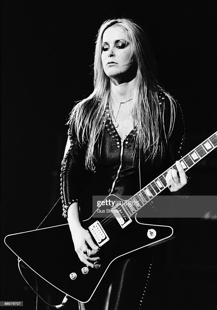 Lita Ford of The Runaways performs on stage at the Roundhouse, Camden in November 1977 in London.