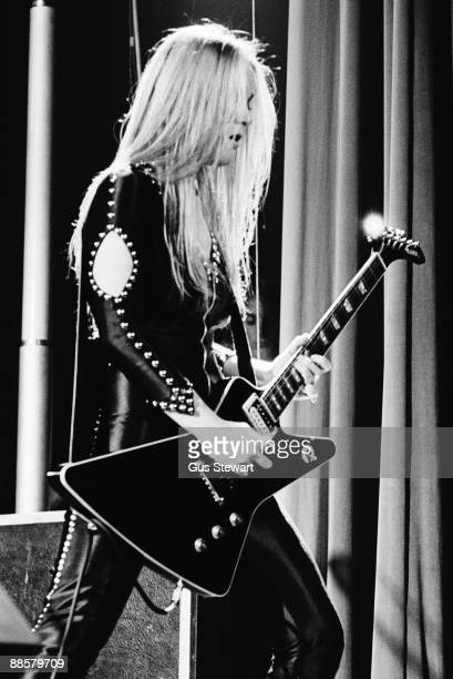 Lita Ford of The Runaways performs on stage at the Roundhouse Camden in November 1977 in London