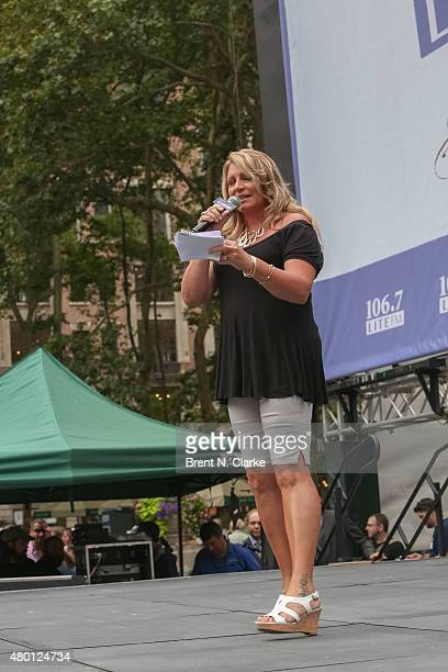 Lite FM onair personality Delilah appears on stage during 1067 Lite FM's Broadway In Bryant Park 2015 held at Bryant Park on July 9 2015 in New York...
