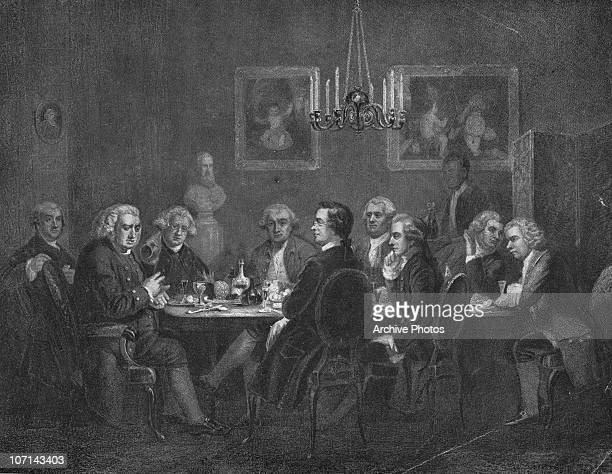 A literary party hosted by artist Sir Joshua Reynolds in London 1781 From left to right writers James Boswell and Samuel Johnson Reynolds actor David...