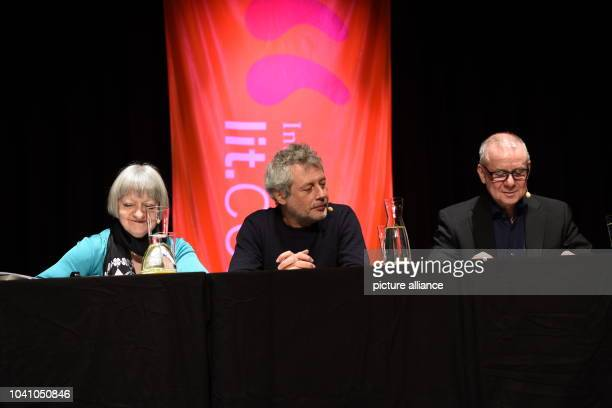 Literary scholar Paola Barbon Italian writer and journalist Alessandro Baricco and actor Joachim Krol read at the LitCologne international literature...