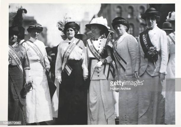 Literary Suffragettes, From left to right, Inez Haynes Gillmore, Hildegarde Hawthorne, Edith Ellis Furness, Rose Young, Katherine Licily and Sally...