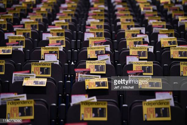 SNP literature is placed on seats in the main auditorium ahead of the autumn conference on October 13 2019 in Aberdeen Scotland The SNP's autumn...