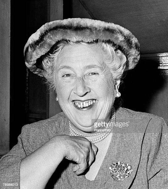 Literature London England Author and writer Agatha Christie at a party to celebrate the 1998th stage performance of her play The Mousetrap