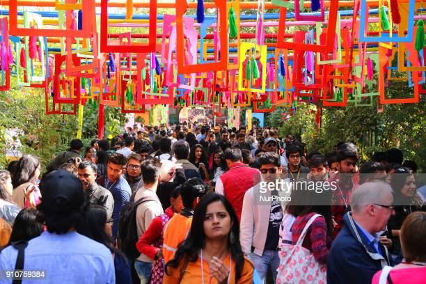 Literature Lovers crowd during the Jaipur Literature Festival 2018 at Diggi Palace in Jaipur Rajasthan India on 26 Jan 2018