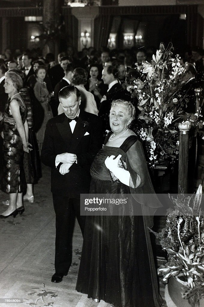 14th April 1958, English crime writer Agatha Christie with Peter Saunders at the party to celebrate the record 2,239th performance of her play 'The Mousetrap',Agatha Christie,(1890-1976), the world's best known mystery writer, famous for her Hercule Poirot and Miss Marple stories, and for her plays including 'The Mousetrap'