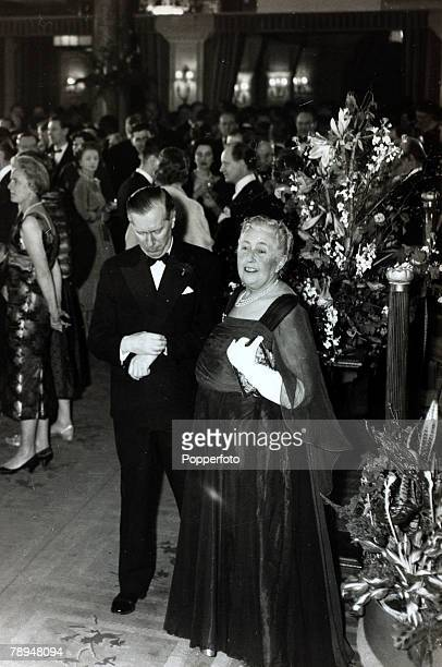 14th April 1958 English crime writer Agatha Christie with Peter Saunders at the party to celebrate the record 2239th performance of her play 'The...