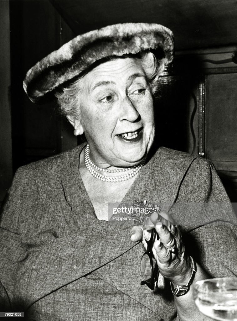 1957, English crime writer Agatha Christie at a party to celebrate the 1998th stage performance of 'The Mousetrap',Agatha Christie,(1890-1976), the world's best known mystery writer, famous for her Hercule Poirot and Miss Marple stories, and for her plays including 'The Mousetrap'