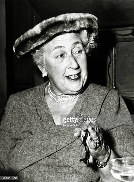 1957 English crime writer Agatha Christie at a party to celebrate the 1998th stage performance of 'The Mousetrap'Agatha Christie the world's best...