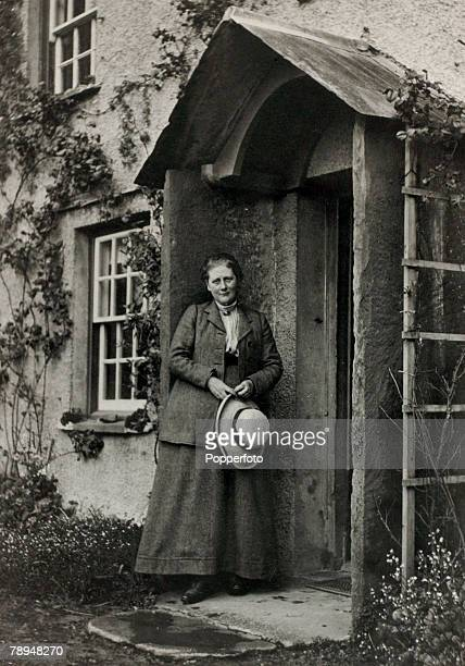 Literature Personalities, pic: circa 1900's, English author Beatrix Potter pictured outside her Kake District house near Ambleside, Beatrix Potter,...