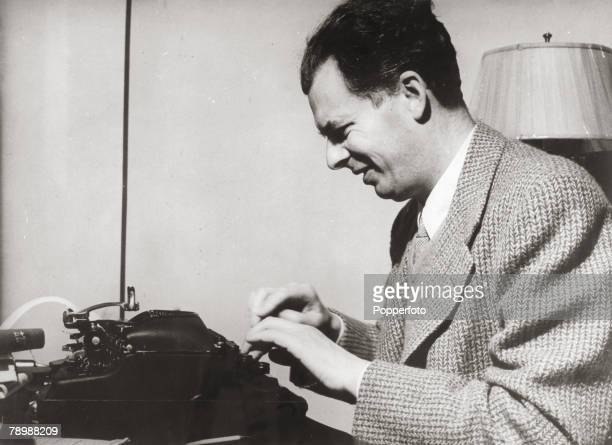 circa 1946 English novelist and essayist Aldous Huxley pictured at the typewriter One of Huxley's greatest works was Brave New World 1932