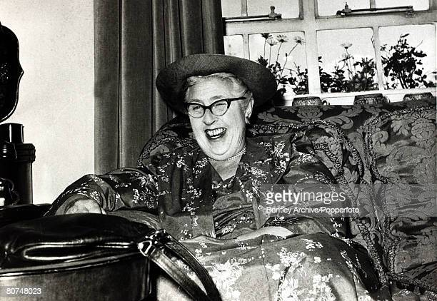 circa 1950's English crime writer Agatha Christie in jovial mood Agatha Christie the world's best known mystery writer famous for her Hercule Poirot...