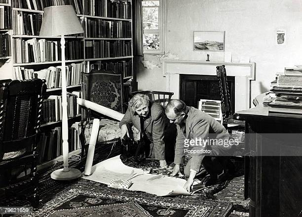 January 1946 English crime writer Agatha Christie pictured with her husband Prof Max Mallowan at their home Winterbrook House Wallingford Agatha...
