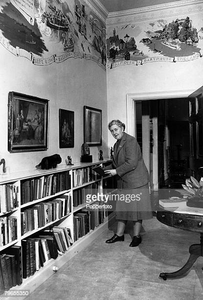 January 1946 English crime writer Agatha Christie pictured in the library at her home Greenway House DevonAgatha Christie the world's best known...