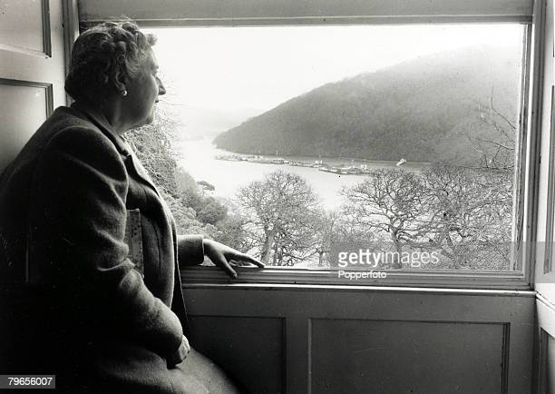 January 1946 English crime writer Agatha Christie at her home Greenway House Devon looking over the grounds to the River Dart Agatha Christie the...