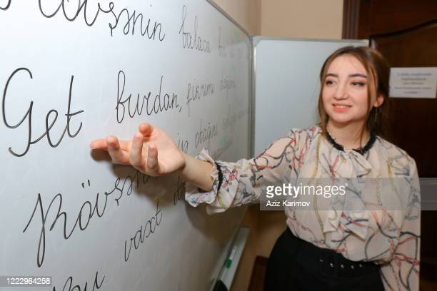 Literature teacher during an online class SchoolLyceum N6 on May 5 2020 in Baku Azerbaijan The Azerbaijan schools resumed classes in online format...