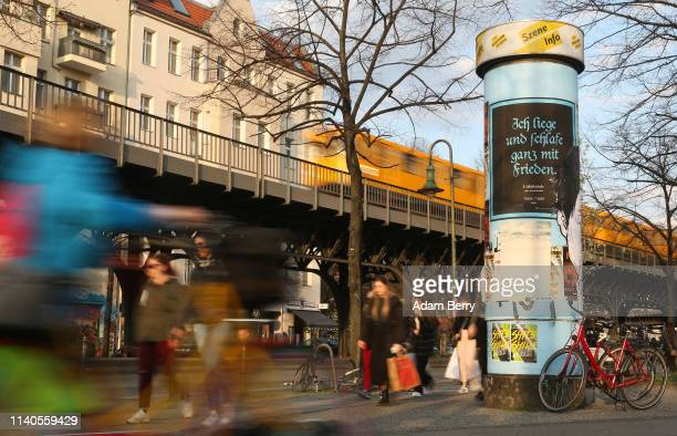Litfass advertising column stands on April 04 2019 in Berlin Germany Around 3000 cylindrical concrete columns known as Litfasssaeule or Litfass...