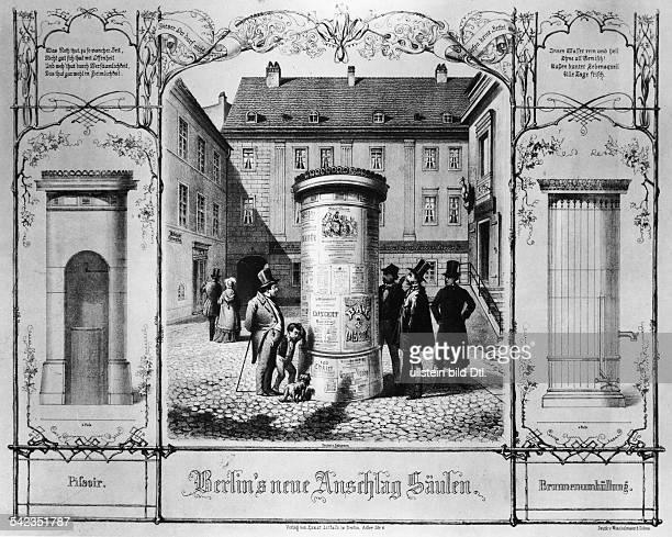 Litfaßsäule in BerlinLithographie von FG Nordmann 1855