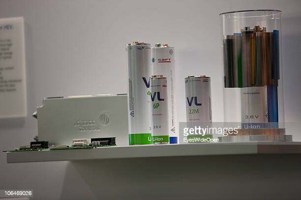 Lithium ion batteries for ecars are shown on the eCarTec 2010 the 2nd International trade fair for electric mobility at the New Munich Trade Fair...