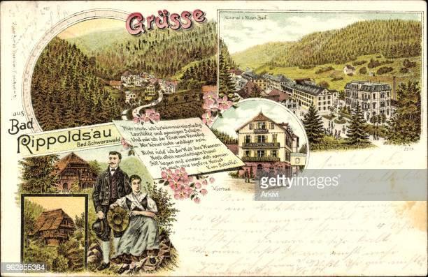 Litho Bad Rippoldsau Schapbach im Schwarzwald Moorbad Paar in Tracht