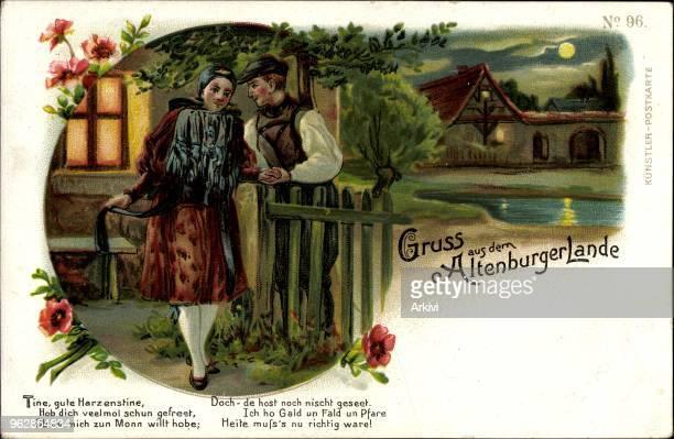 Litho Gruß aus dem Altenburger Lande Volkstrachten Liebespaar