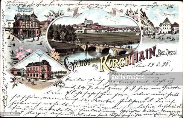 Litho Kirchhain Fahrradhandlung Wunderlich Marktplatz Post Brücke Fluss