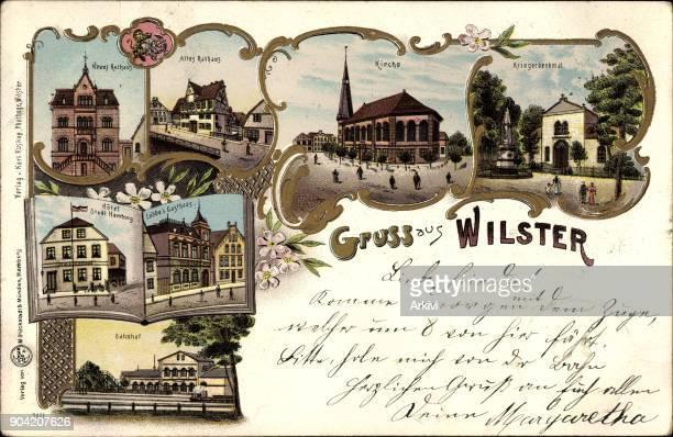 Litho Wilster im Kreis Steinburg Rathaus Bahnhof Denkmal Hotel Stadt Hamburg