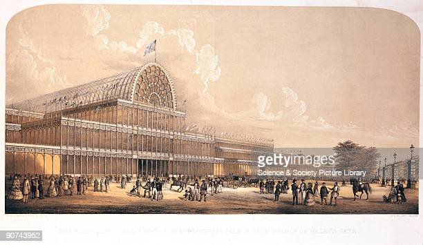 Lithograph after a sketch on stone by Charles Burton The Crystal Palace was built to house the 'Great Exhibition of the Works of the Industry of all...