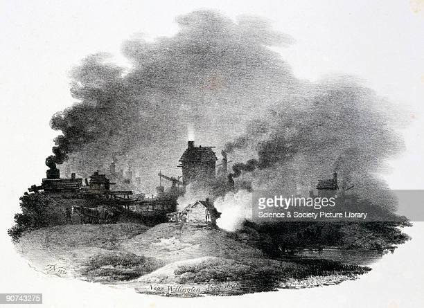Lithograph after F Nicholson printed by C Hullmandel of a nocturnal scene showing a coal mine with pitheads winding gear and engine houses...