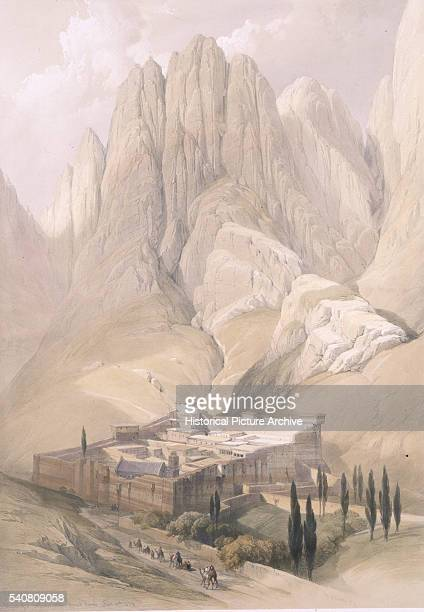 Lithograph after St Catherine's Monastery on Mount Sinai by David Roberts