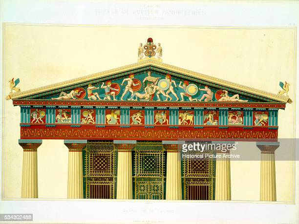 Lithograph Book Illustration Showing a Painted Relief Facade of a Greek Temple by L Daumont