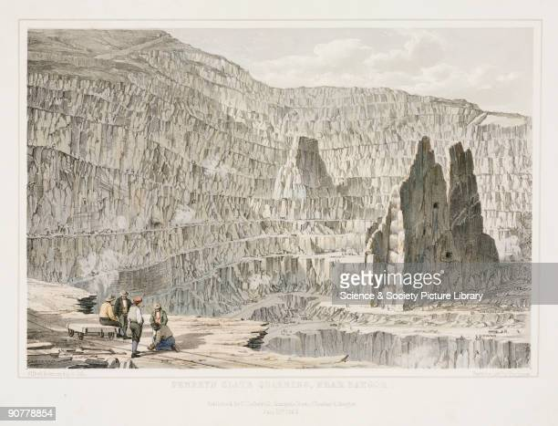 Lithograph by Alfred Sumners after his own drawing of a monumental open cast mining landscape Slate has been mined here since the 16th century and is...