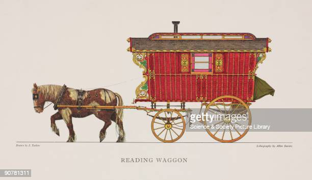 Lithograph by Allen Davies made 19601980 after a drawing by J Tatlow It shows a colourful gypsy wagon known as a Reading Waggon Also known as the...